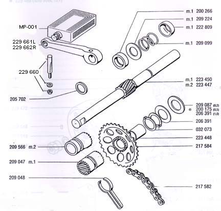 Diagram Reference #T5c-TOMOS A35/A55 Pedal Shaft & Parts