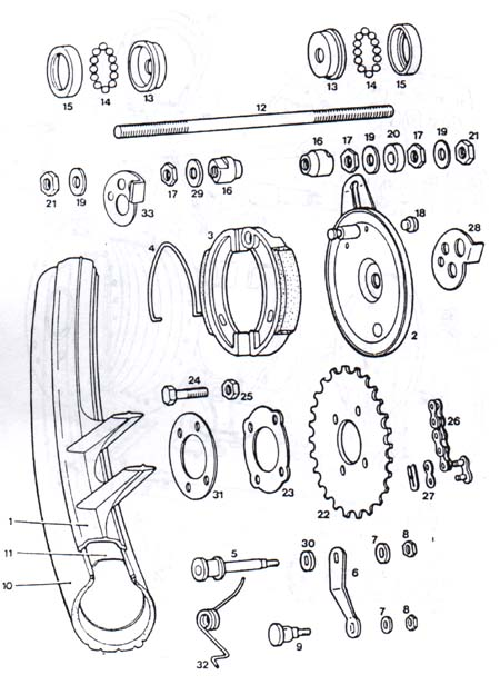 tomos a3 rear mag wheel parts ref  diagram t12b