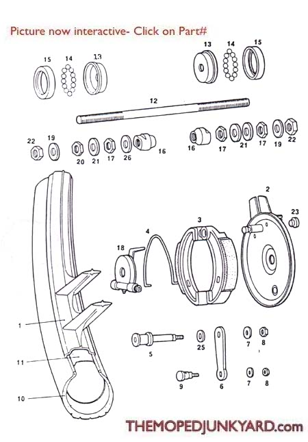 Tomos A3 Front Mag Front Wheel Parts Ref  Diagram T11b