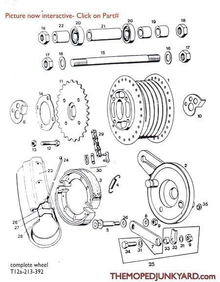 tomos a3 rear spoke wheel parts ref  diagram t12a
