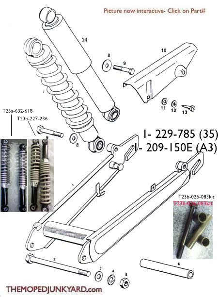 TOMOS A3 Swing Arm Parts  Ref. Diagram T23a
