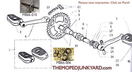 motobecane crank & pedals ref  diagram mb6b