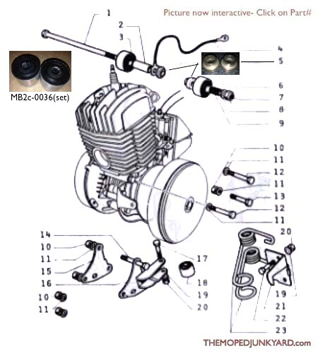 motobecane engine mounting hardware ref diagram mb2c rh mopedjunkyard com scooter engine diagram tomos moped engine diagram