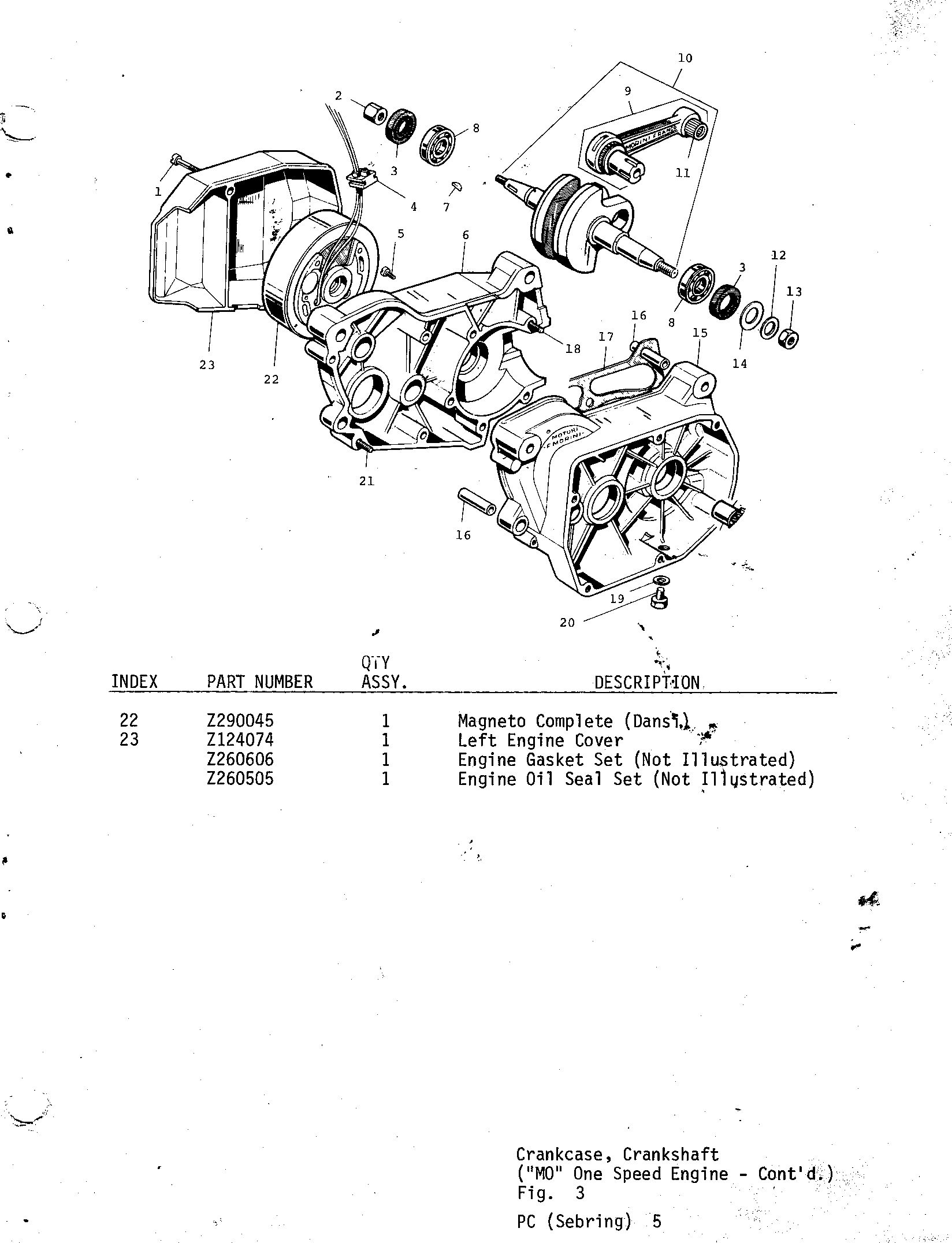 05-CRANKCASE, CRANKSHAFT, M0 ONE SPEED ENGINE