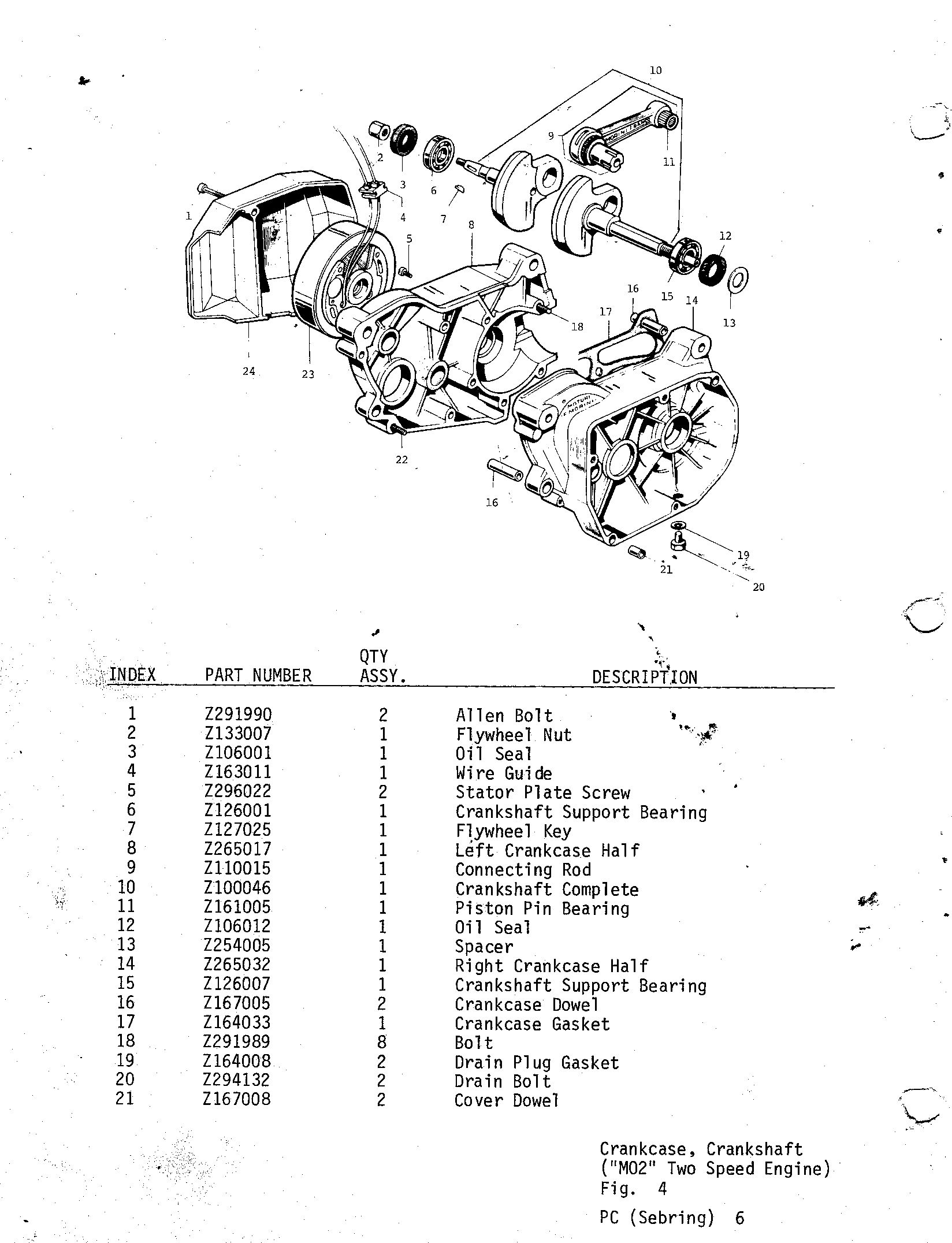 06-CRANKCASE, CRANKSHAFT, M02 TWO SPEED ENGINE