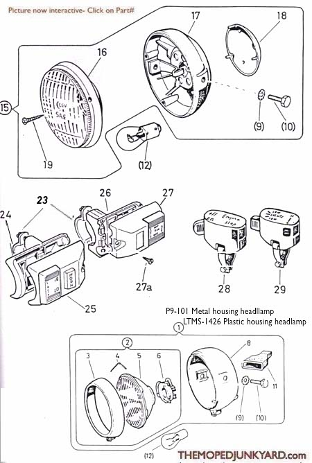 diagram reference p9 puch headlights switches & parts 98 buick headlight parts diagram headlight parts diagram #29