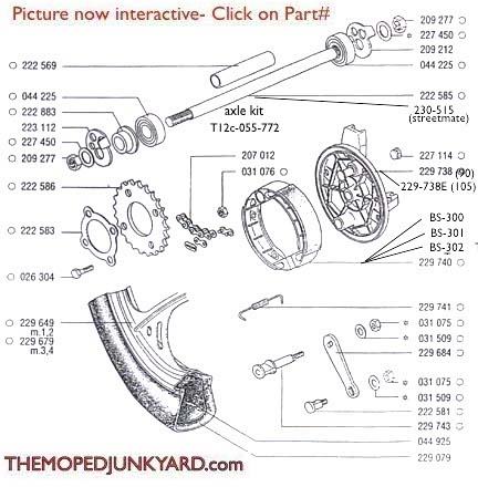 TOMOS A35 Rear Mag Wheel Parts Ref  Diagram T12c