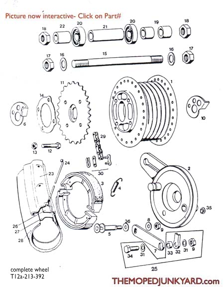 tomos a3 rear spoke wheel parts ref  diagram t12a