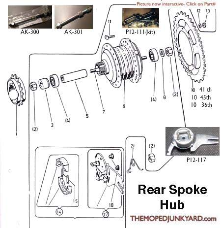 Diagram Reference #P12 - Puch Rear Wheel(spoke) Parts