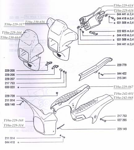 TOMOS A35( Targa, Targa TT)  Fairings & Body Parts  Diagram Ref. T10a