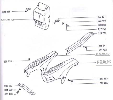 TOMOS A35( Sprint ) Fairings & Body Parts  Diagram Ref. T10b