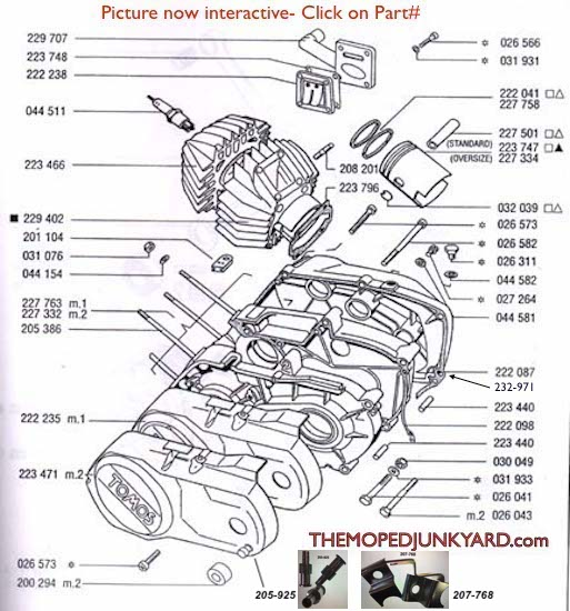 TOMOS A35 Piston/ Cylinder/ Parts ( 4 bolt manifold )  Diagram reference # T1a