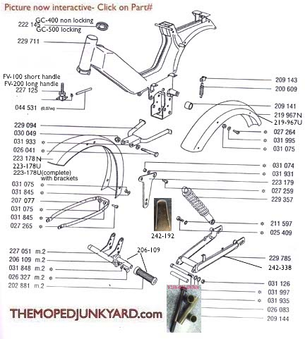 TOMOS A35/A55 Frame, Body, & Swing Arm Parts  Ref. Diagram T23b