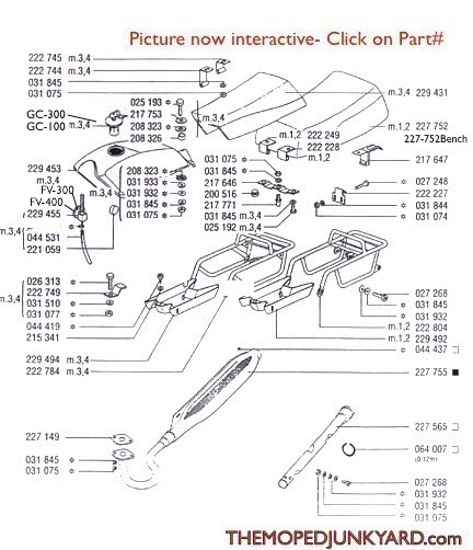TOMOS A35/ A55 Rear Racks,Targa Top Tank Seats, and Exhaust  Ref. Diagram T23c