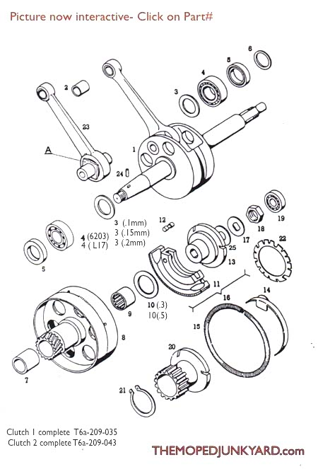 Diagram Reference #T6a - Tomos A3 Transmission - Clutches