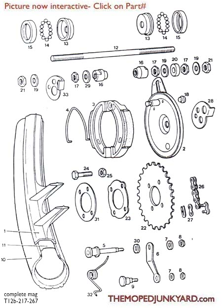 TOMOS A3 Rear Mag Wheel Parts  Ref. Diagram T12b