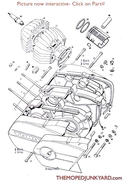 TOMOS A3 Piston/ Cylinder/ Parts ( 2 bolt manifold )  Diagram reference # T1b