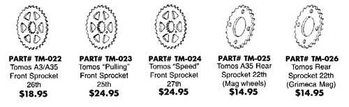 Tomos Sprockets  Ref. Diagram T12d
