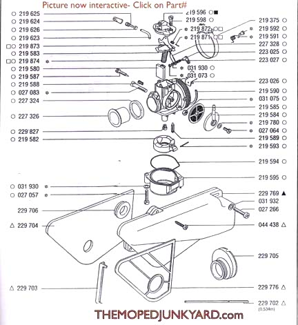 TOMOS A35 (DELLORTO) Carb Parts Diagram Ref -T7cThe Moped Junkyard