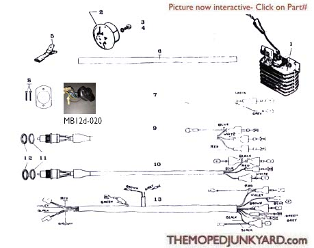 Motobecane Electrical Parts Ref. Diagram MB12d