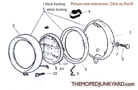 Motobecane Headlights Ref. Diagram MB13a
