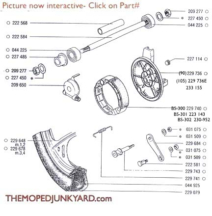 TOMOS A35 Front Mag Front Wheel Parts Ref. Diagram T11cThe Moped Junkyard