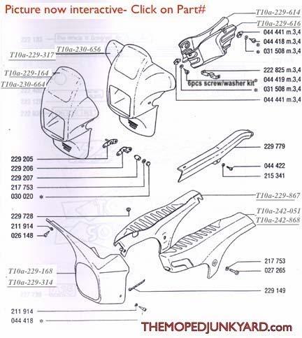 TOMOS A35( Targa, Targa TT) Fairings & Body Parts DiagramThe Moped Junkyard
