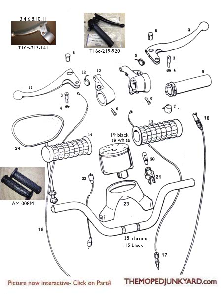 TOMOS A3 Control and Handlebar related parts Diagram ref. TThe Moped Junkyard